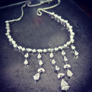 Diamond necklace (Dangling necklace with pear drops and marquise)