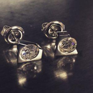 Diamond studs (Elegant platinum diamond earrings)