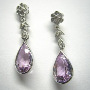 Drop earrings (Floral diamond and amethyst earrings)
