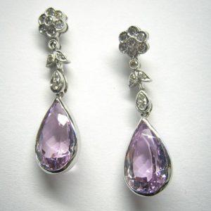 Drop earrings (Floral diamond and amethyst earrings)