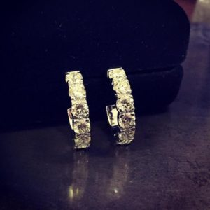 Huggie earrings (Dainty diamond and tanzanite hoop earings)
