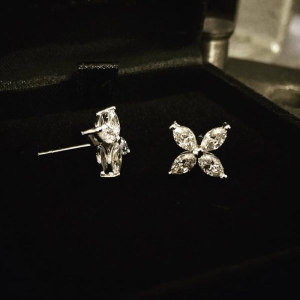 Marquise Studs (Adorable floral diamond earrings)