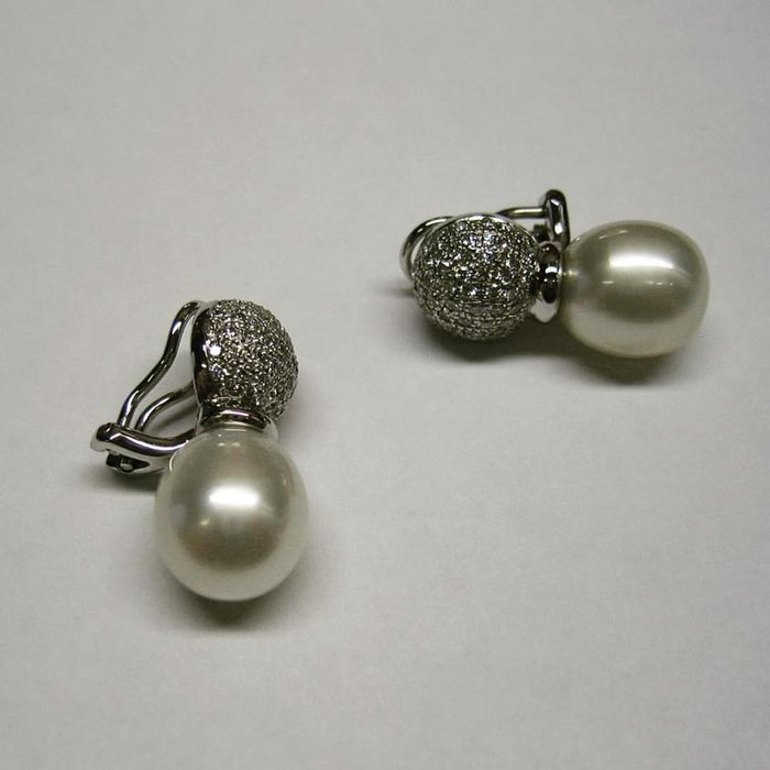 Pearl Earrings Cute Amd Diamond
