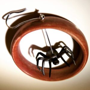 Pink wooden earring (Pink ivorywood with creative blackened silver spider drop)