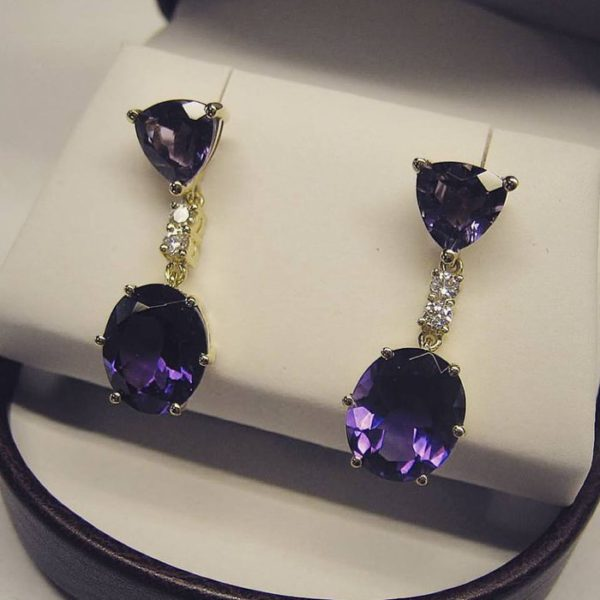 Purple amethyst earrings (trillion cut oval gemstone earrings)