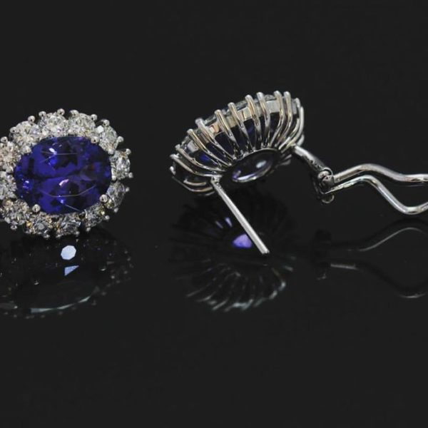 Tazanite earrings (Feminine earrings with tazanite and diamond)