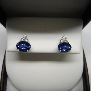 Tazanite earrings (Tazanite earrings with halo diamond)
