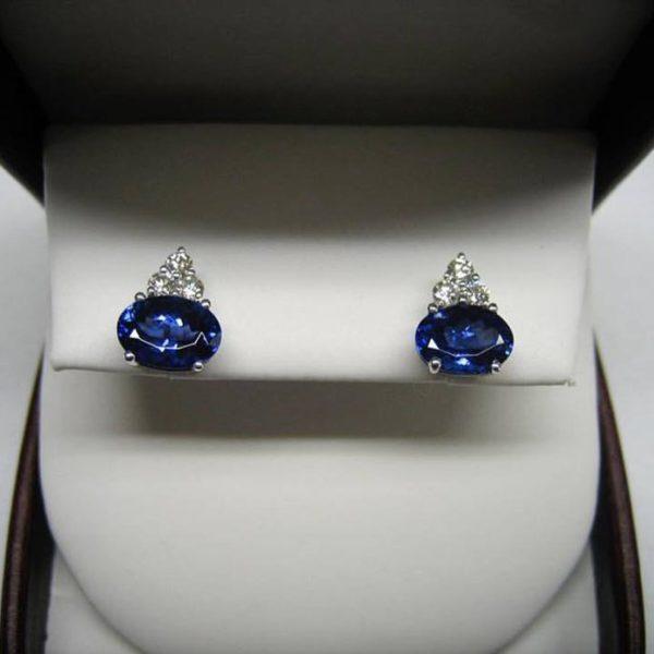 Tazanite earrings (Tazanite earrings with halo diamond)